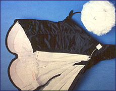 Cottontail and Interior view of costume, labeled